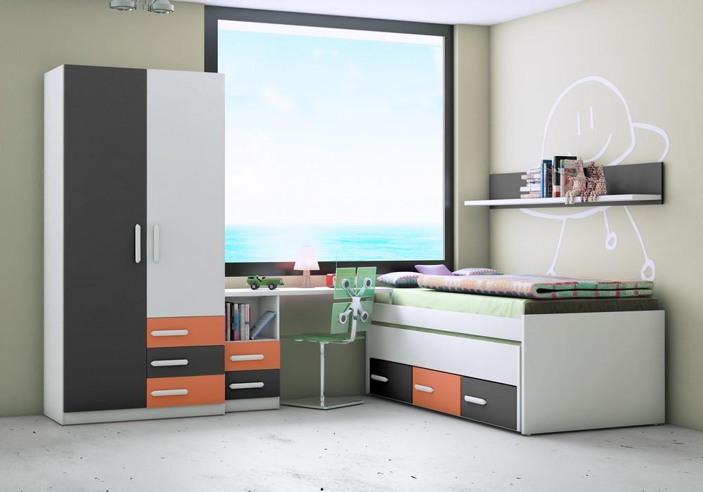 Dormitorio juvenil ju 9008 compacto jovic online for Compactos juveniles baratos